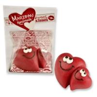 Coeurs en pâte d'amandes assortis emballés cellophane