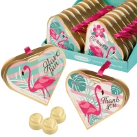 16 pcs Coeur cadeau Flamant rose, garnies de pralinés
