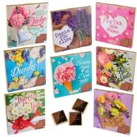 16 pcs Pochettes chocolatées   Fleurs , assorties