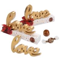Love Grand Modèle en bois sur coffret  garni de chocolat pralin 1 X10 pcs