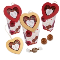 Cadre Photo Coeur sur coffret garni de chocolat pralin 1 X12 pcs - 109 x 70 x 165 mm