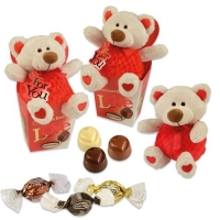 Grand ours en peluche sur coffret garni de chocolat pralin 1 X12 pcs - 111 x 90 x 205 mm