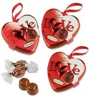 Moyen Coeur Boite en fer blanc Love garni de chocolat pralin 1 X12 pcs - 84 x 83 x 39 mm