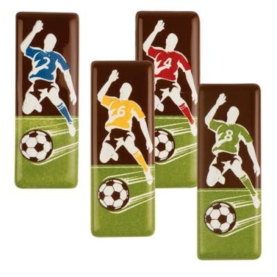 96 pcs Plaquettes Footballeurs en chocolat noir, ass.